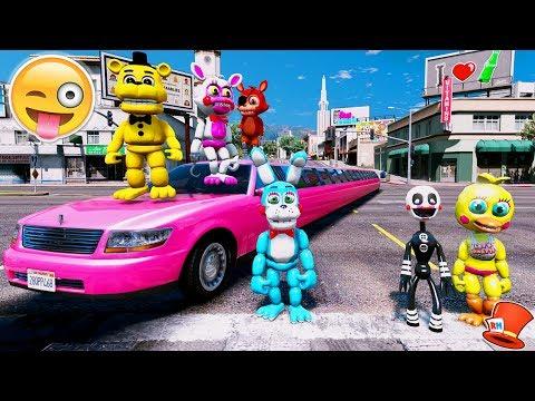 ANIMATRONICS vs THE WORLD'S LONGEST CAR! (GTA 5 Mods For Kids FNAF RedHatter)