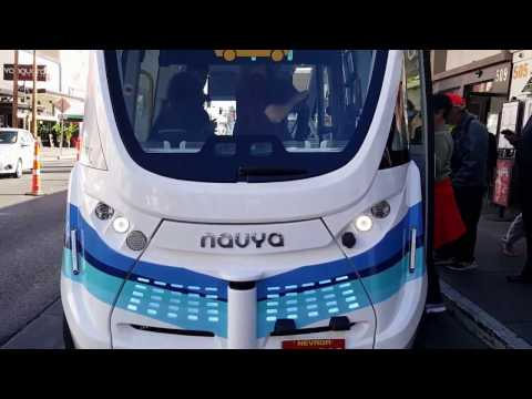 Autonomous Las Vegas Downtown Bus First Day driverless January 2017
