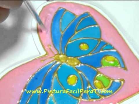 5 Corazon Mariposa San Valentin Falso Vitral 14 de Febrero Dia de los Enamorados Pintura Facil