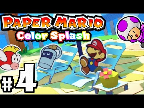 Paper Mario Color Splash - Wii U Gameplay Walkthrough PART 4 - Bloo Bay Beach: Five Fun Guys Shuffle