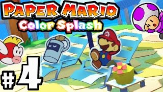 Paper Mario Color Splash - Wii U Gameplay Walkthrough PART 4 - Bloo Bay Beach: Five Fun Guys Shuffle