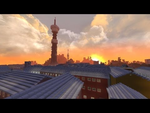 minecraft: city powered by nuclear power plant  (redstone)