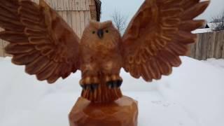 Филин (часть 2)вырезал филина в атаке! Резьба по дереву! Wood carving