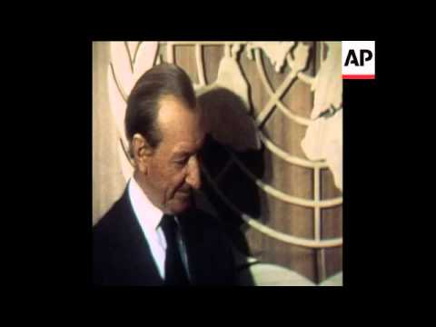 SYND 28 5 77 WALDHEIM WITH ITALIAN AND YUGOSLAVIAN REPRESENTATIVES INTERVIEWS
