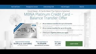 MBNA Online Card Services Manage Account