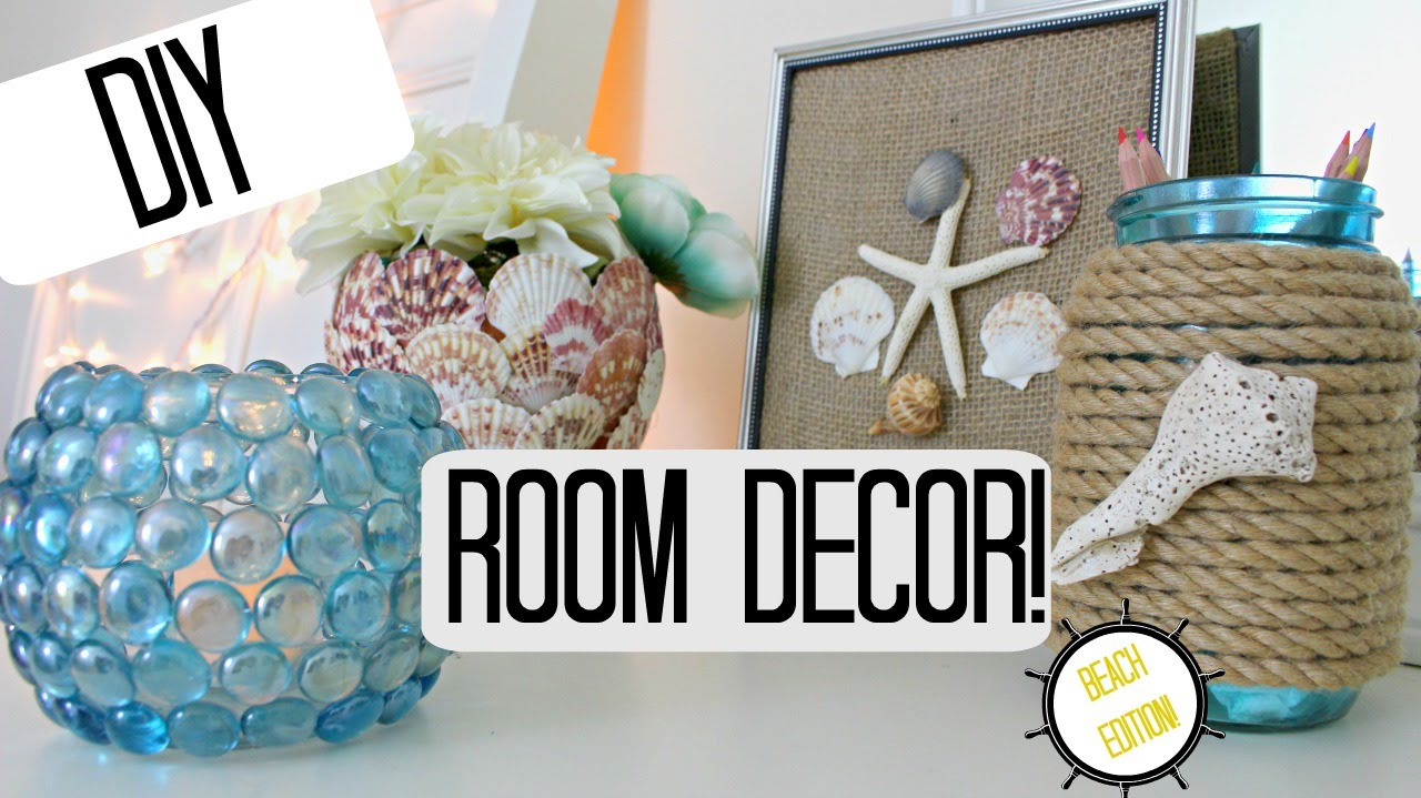 DIY ROOM DECOR IDEAS  BEACH THEME  Pinterest Inspired U0026 Cheap!   YouTube