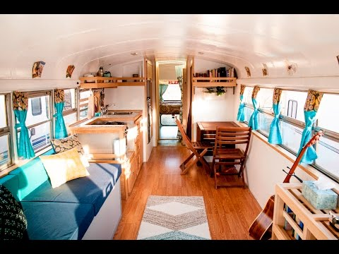 """HOW WE ROLL"" Awesome Converted School Bus Home Tour"