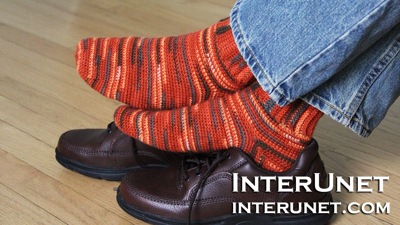 How to crochet men\'s socks - beginner\'s friendly stitch - YouTube
