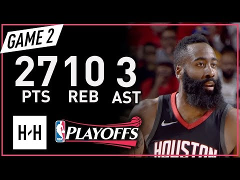 James Harden Full Game 2 Highlights vs Warriors 2018 NBA Playoffs WCF - 27 Pts, 10 Reb, 3 Ast!