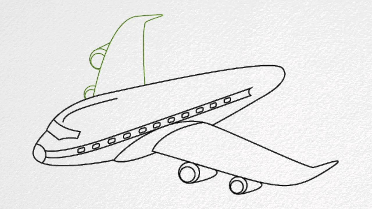 How to draw an airplane step by step youtube