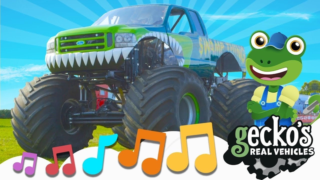 Monster Truck Song‼|NEW Kids Songs|Truck Jumping In The Mud|Gecko's Real Vehicles|Ultimate Vehicles