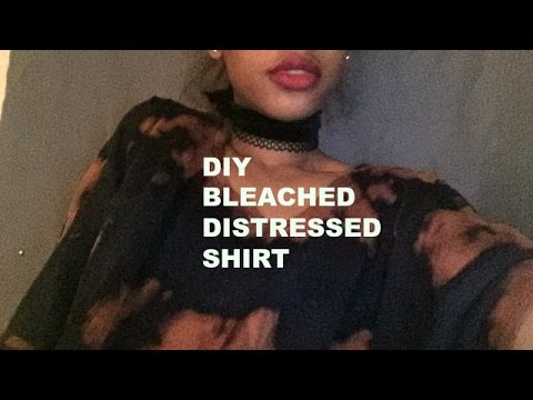 Diy how to make a bleached distressed shirt youtube for How to make a distressed shirt