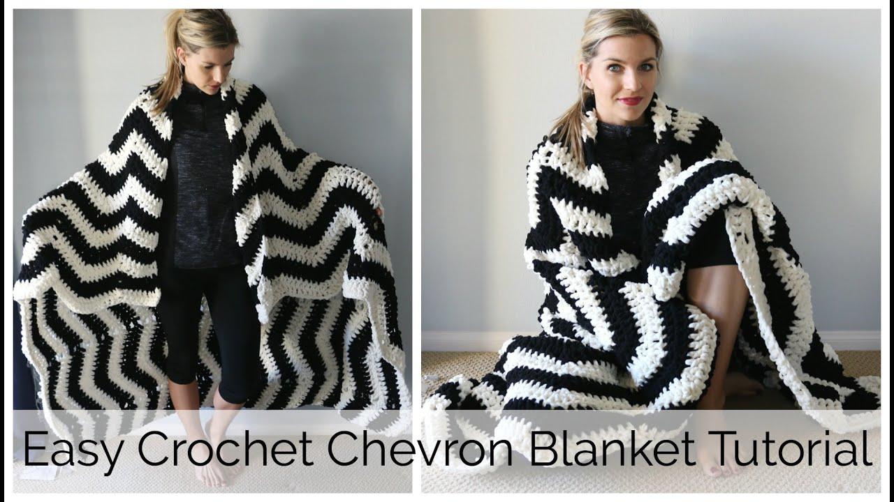 Beginner Crochet Blanket Tutorial : How to Crochet a Chevron Blanket Tutorial - Beginner ...