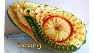 papaya carving | carving fruits | By BÀN TAY ĐEN #carving #watermelon #papaya