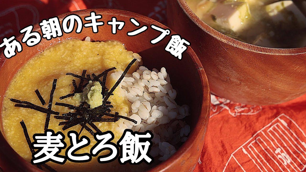 ある朝のキャンプ飯④〜麦とろ飯とアオサと豆腐の味噌汁〜