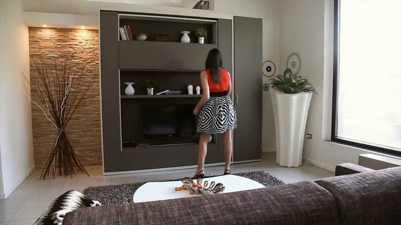 Murphy Bed In Small Living Room Neutral Rugs For Slumbershelves Hidden Wall From Spaceman Youtube Premium