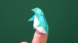小さくてかわいいペンギンの指人形。7.5×7.5cmの折り紙を使いました。Th...