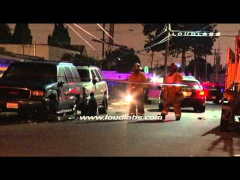 Pursuit Crash Causes Wires Down / Compton   RAW FOOTAGE