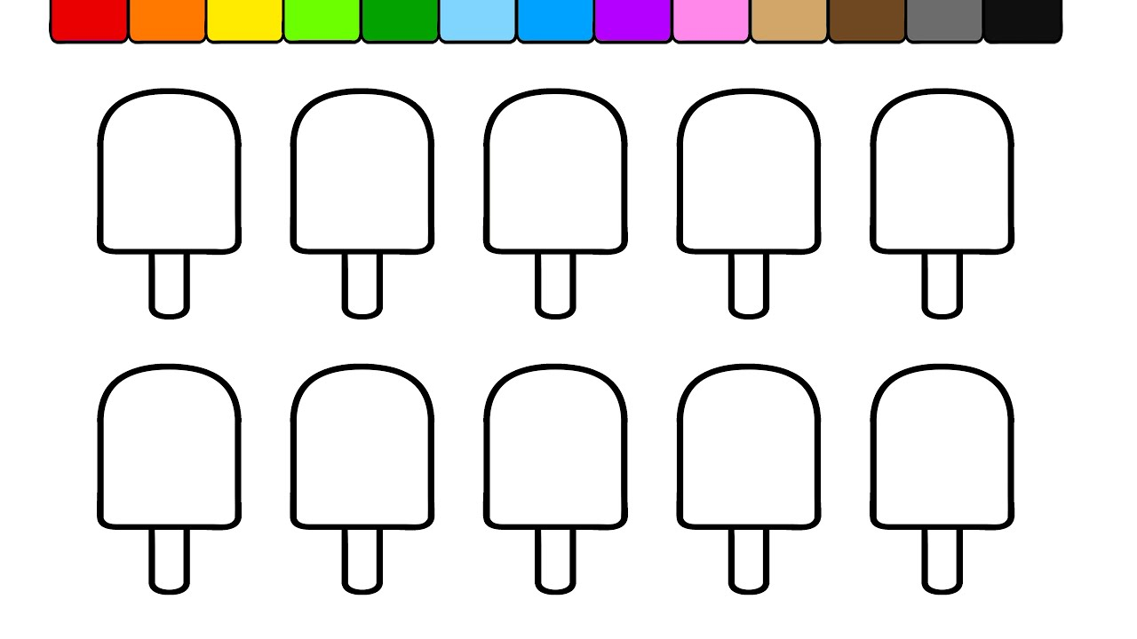 Learn Colors for Kids and Color this Stripe Popsicle Coloring Page ...