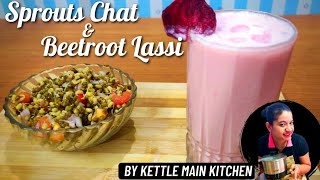 Sprout chaat and beetroot lassi in kettle | sprout chaat and beetroot lassi