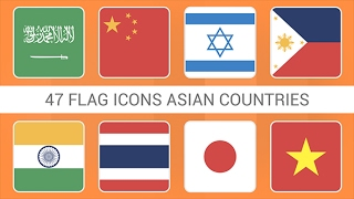 Flag Icons Asian Countries Squares Style