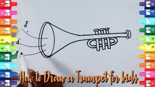How to draw a trumpet for kids-Easy Kids Drawing Tutorial