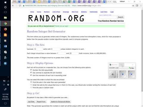 Random integers using RANDOM.ORG