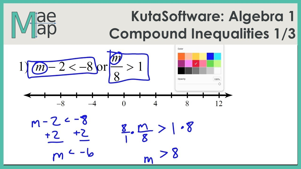 KutaSoftware Algebra 1 Compound Inequalities Part 1 YouTube – Compound Inequalities Worksheet