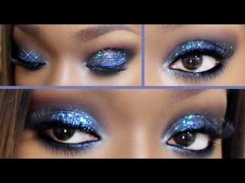 Blue Glitter Eye Makeup - YouTube
