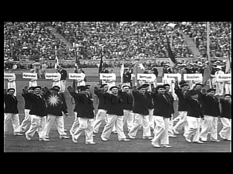 Adolf Hitler gives a speech during 1936 Olympic games held in Berlin, Germany. HD Stock Footage