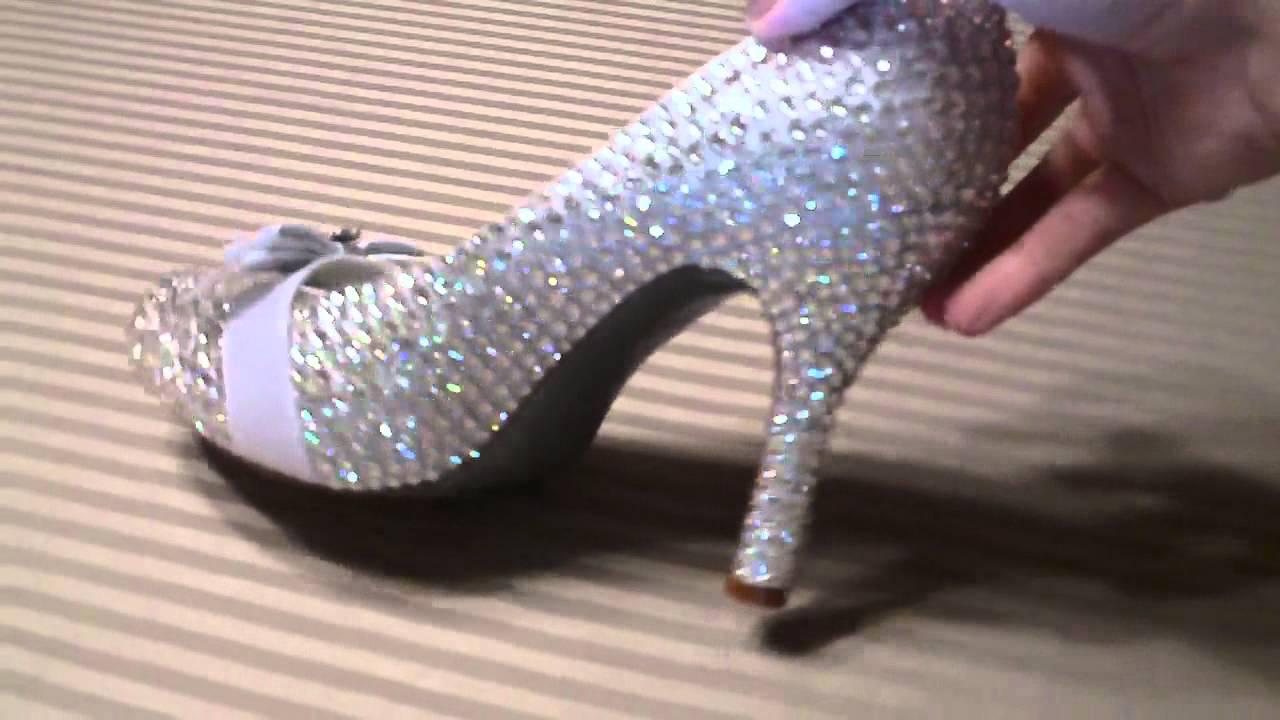 e0cb72d25760 My DIY Swarovski crystal strassed wedding heels - YouTube