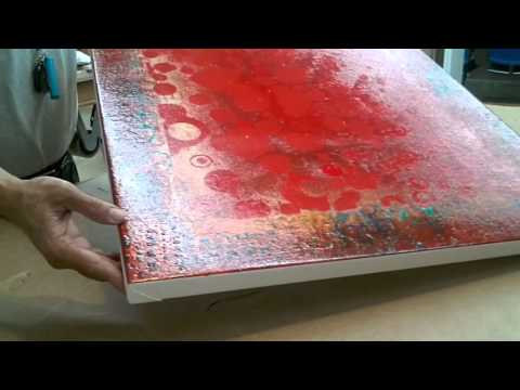 "Framing: How To Frame A Roll Canvas - ""Red Abstract"" - Part 1"