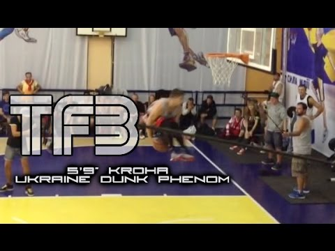"""5'9"""" Kroha CRAZY Dubble Up over 3 People and Under Both Legs Dunk! Only 18 Years old!"""