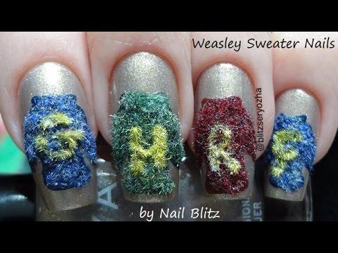 Easy Weasley Sweater Harry Potter Diy Nail Art Tutorial Youtube