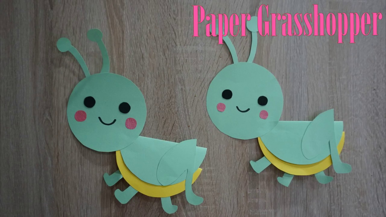 Cutting Paper Art For Kids Paper Grasshopper Diy Crafts For Kids
