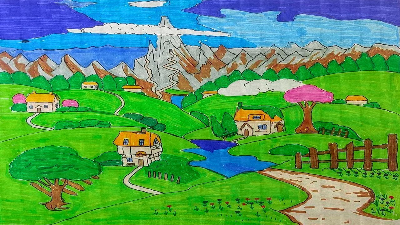 How to easy drawing Village for Kids - Children's Coloring Book with #Paiting