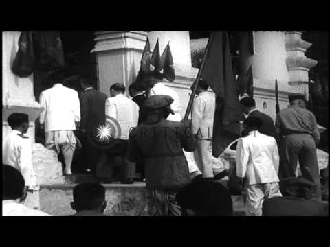 French political official makes inspection tour of French forces in Indochina and...HD Stock Footage