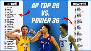 College Basketball Rankings: Kansas Is New No. 1 In Power 36