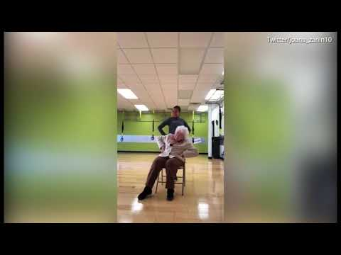 93-year-old woman has a blast working out with her trainer