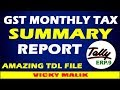 GST Monthly Tax Summary TDL File || GST Tax Summary Report || #Free TDL File || Vky Malik