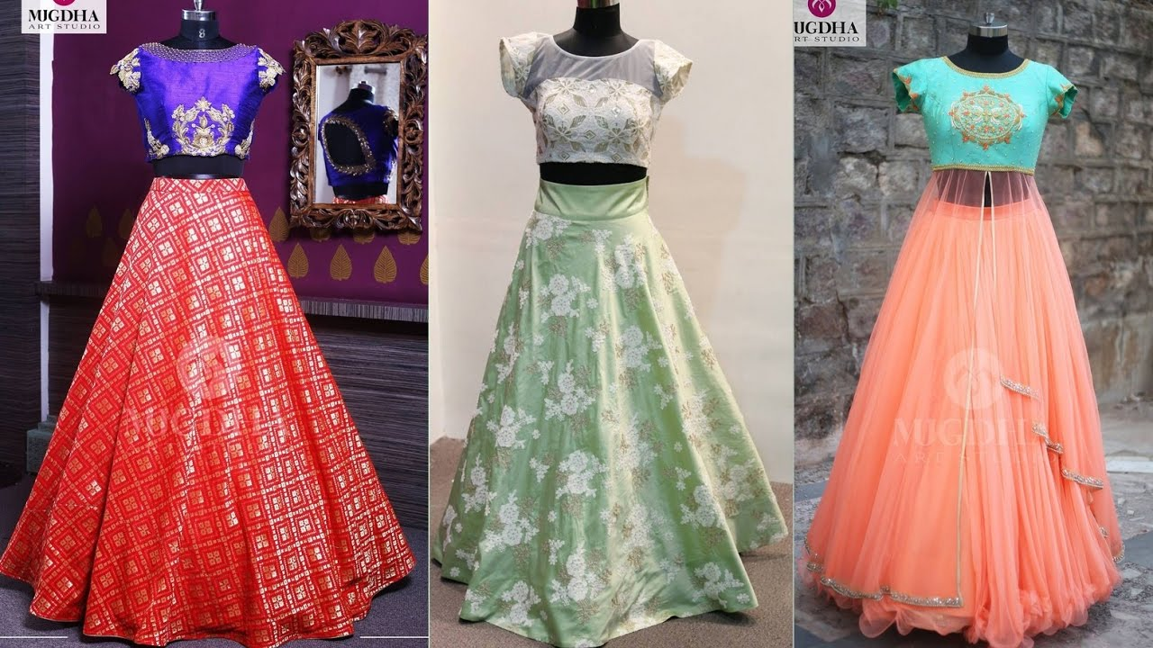 7f0f715f39c821 Crop Top and Long Skirt Designs. Latest Indian Fashion