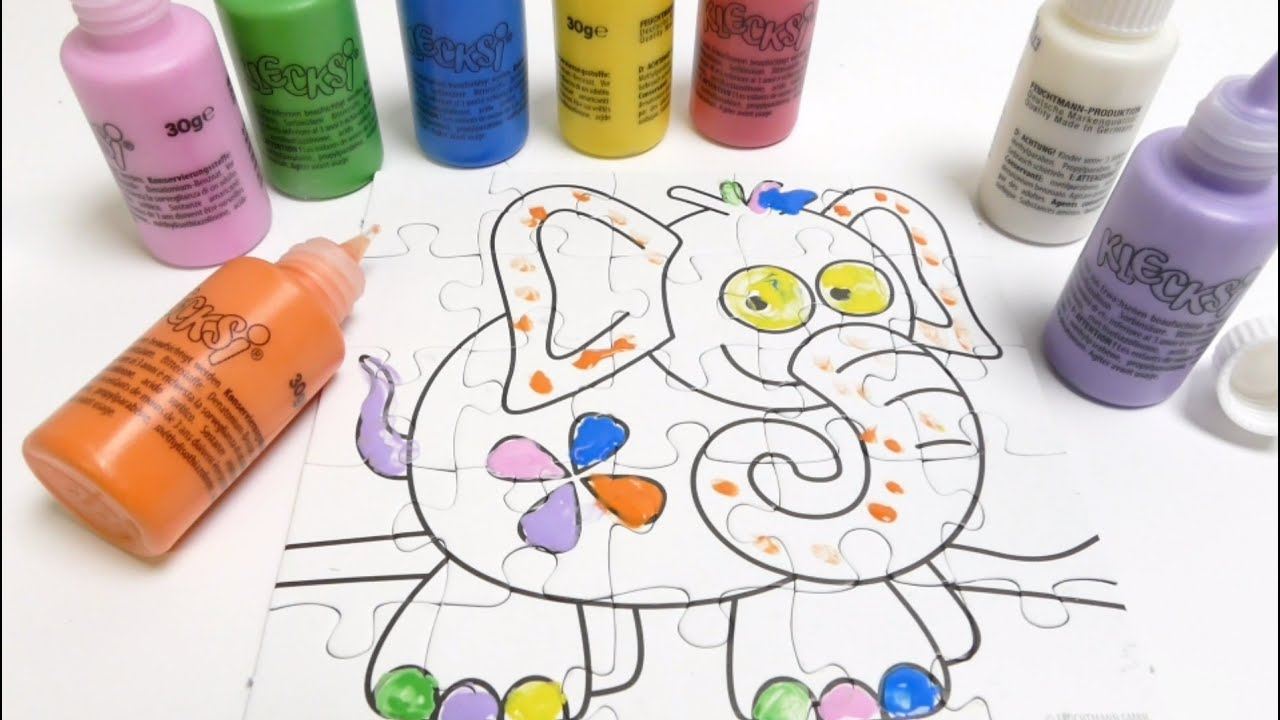Finger Painting Colours - Colouring an Elephant Puzzle - YouTube
