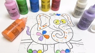 Finger Painting Colours - Colouring an Elephant Puzzle