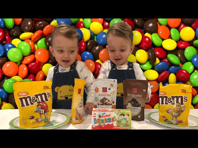 Let's Play With M&M Candies - Twins Aaron Ajan playing with M&M Chocolate | Old MacDonald Had A Farm