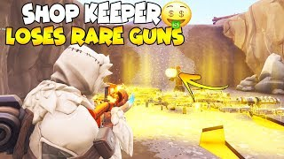 Shop Keeper Loses *NEW* RARE GUNS! 😱 Scammer Gets Scammed Fortnite Save The World
