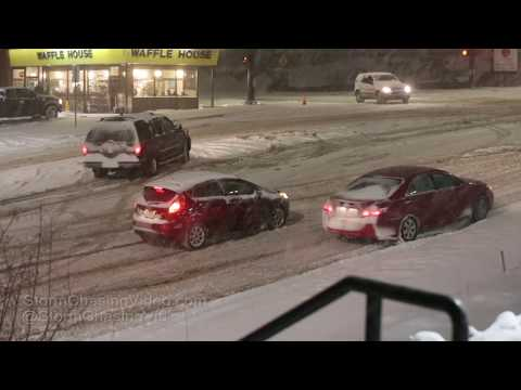 Colorado Springs, CO Cars Struggle Up Steep Hills during Heavy Snow - 2/23/2019