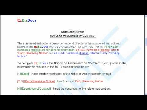 Free Notice of Assignment of Contract - YouTube