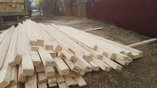 Разгрузка, строим из бруса, три домика на одном участке