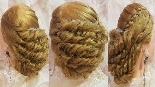 Прически свадебные, для длинных волос 4-х прядная коса водопад и жгуты вечерняя пучок из кос