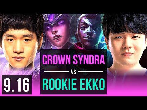 Crown SYNDRA Vs Rookie EKKO (MID) (DEFEAT) | 2 Early Solo Kills | Korea Challenger | V9.16